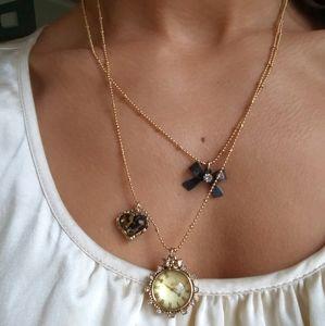 BetsyJohnson Gold clock,Black bow, heart necklace